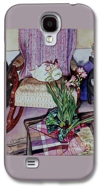 """""""indoor"""" Still Life Paintings Galaxy S4 Cases - Cozy Kitty Galaxy S4 Case by Cynthia Pride"""
