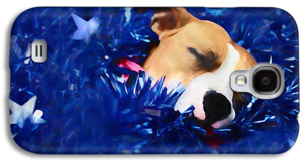 Dogs Digital Art Galaxy S4 Cases - Craddled by a Blanket of Stars and Stripes Galaxy S4 Case by Shelley Neff