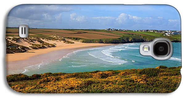 Surfer Magazine Galaxy S4 Cases - Crantock beach and yellow gorse North Cornwall England UK Galaxy S4 Case by Michael Charles