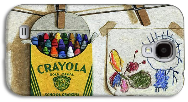 Crayola Crayons And Drawing Realistic Still Life Painting Galaxy S4 Case by Linda Apple