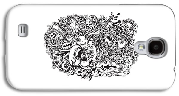 Abstract Collage Drawings Galaxy S4 Cases - Crazy doodle Monsters,doodle drawing style Galaxy S4 Case by Pakpong Pongatichat