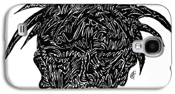 Abstract Digital Drawings Galaxy S4 Cases - Crazy Hair Galaxy S4 Case by Ashley Teeter