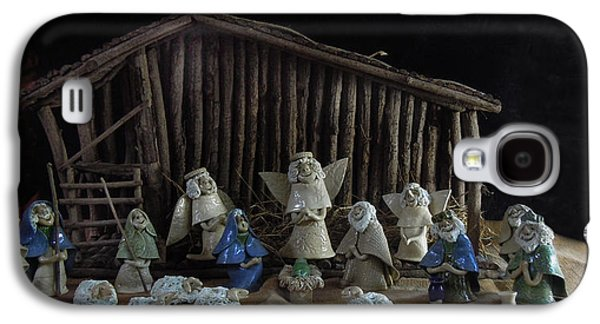Nativity Ceramics Galaxy S4 Cases - Creche Sraight on View Galaxy S4 Case by Nancy Griswold