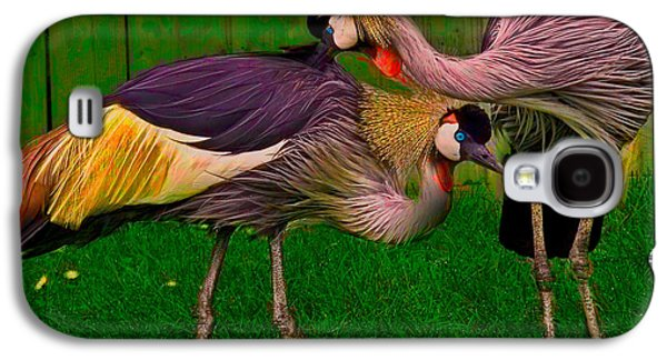 Crest Digital Art Galaxy S4 Cases - Crested Cranes Galaxy S4 Case by Chris Lord