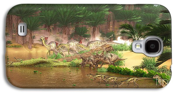 Northern Africa Galaxy S4 Cases - Cretaceous Dinosaur River Galaxy S4 Case by Corey Ford