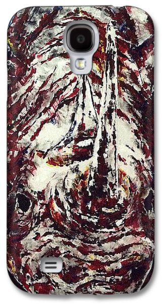 Rhinoceros Paintings Galaxy S4 Cases - Critically Endangered Galaxy S4 Case by Crystal Hayes