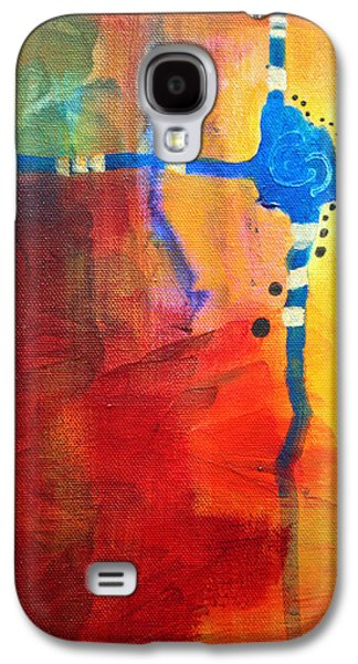 Tangerine Paintings Galaxy S4 Cases - Crossed Abstract Cruciform Painting Galaxy S4 Case by Nancy Merkle