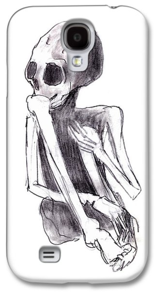 Creepy Drawings Galaxy S4 Cases - Crouched Skeleton Galaxy S4 Case by Michal Boubin