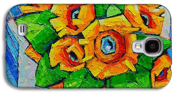 Nature Abstracts Galaxy S4 Cases - Cubist Sunflowers - Original Oil Painting Galaxy S4 Case by Ana Maria Edulescu