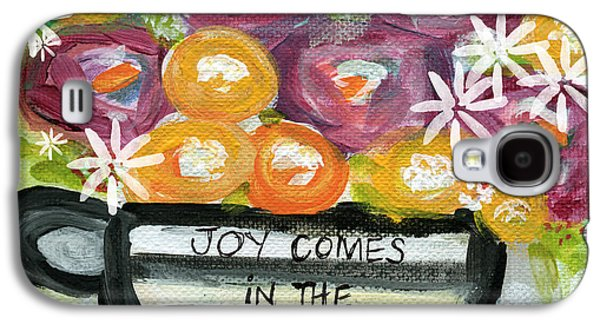 Folk Art Mixed Media Galaxy S4 Cases - Cup Of Joy 2- Contemporary Floral Painting Galaxy S4 Case by Linda Woods