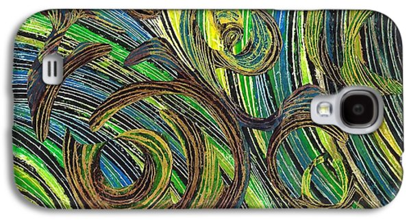 Avant Garde Mixed Media Galaxy S4 Cases - Curved Lines 4 Galaxy S4 Case by Sarah Loft