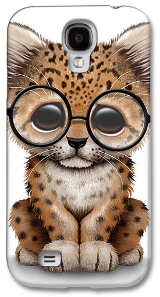 Cute Baby Leopard Cub Wearing Glasses Galaxy S4 Case by Jeff Bartels