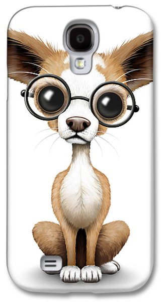 Puppy Digital Galaxy S4 Cases - Cute Chihuahua Puppy Wearing Eye Glasses Galaxy S4 Case by Jeff Bartels