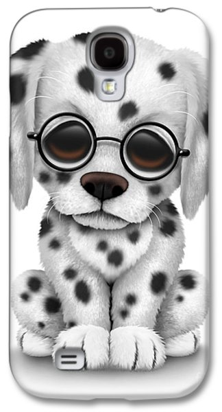 Recently Sold -  - Puppy Digital Galaxy S4 Cases - Cute Dalmatian Puppy Dog Wearing Eye Glasses Galaxy S4 Case by Jeff Bartels