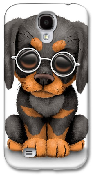 Puppy Digital Galaxy S4 Cases - Cute Doberman Puppy Dog Wearing Eye Glasses Galaxy S4 Case by Jeff Bartels