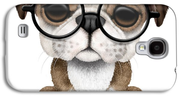 Puppy Digital Galaxy S4 Cases - Cute English Bulldog Puppy Wearing Glasses Galaxy S4 Case by Jeff Bartels