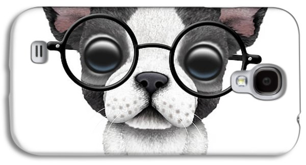 Puppy Digital Galaxy S4 Cases - Cute French Bulldog Puppy Wearing Glasses Galaxy S4 Case by Jeff Bartels