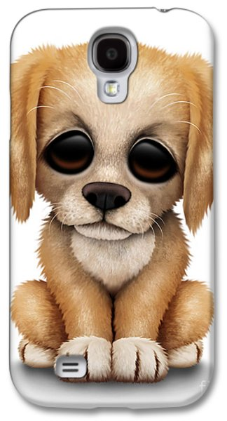 Puppy Digital Galaxy S4 Cases - Cute Golden Retriever Puppy Dog Galaxy S4 Case by Jeff Bartels