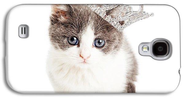 Adorable Photographs Galaxy S4 Cases - Cute Kitten Wearing Princess Crown Galaxy S4 Case by Susan  Schmitz