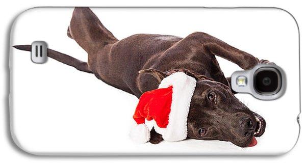 Cute Labrador Dog Laying Wearing Santa Hat  Galaxy S4 Case by Susan Schmitz