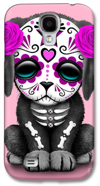 Puppy Digital Galaxy S4 Cases - Cute Pink Day of the Dead Sugar Skull Dog  Galaxy S4 Case by Jeff Bartels