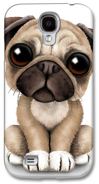 Puppy Digital Galaxy S4 Cases - Cute Pug Puppy Dog Galaxy S4 Case by Jeff Bartels