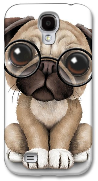 Puppy Digital Galaxy S4 Cases - Cute Pug Puppy Dog Wearing Eye Glasses Galaxy S4 Case by Jeff Bartels