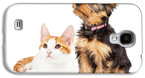 Cutouts Galaxy S4 Cases - Cute Puppy and Kitten Sitting to Side  Galaxy S4 Case by Susan  Schmitz