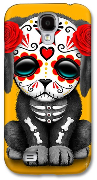 Puppy Digital Galaxy S4 Cases - Cute Red Day of the Dead Sugar Skull Dog  Galaxy S4 Case by Jeff Bartels