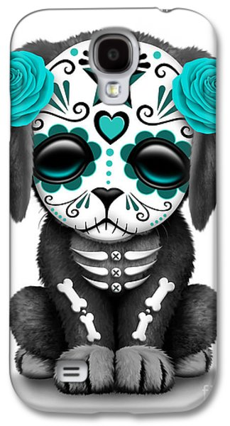 Puppy Digital Galaxy S4 Cases - Cute Teal Blue Day of the Dead Sugar Skull Dog  Galaxy S4 Case by Jeff Bartels