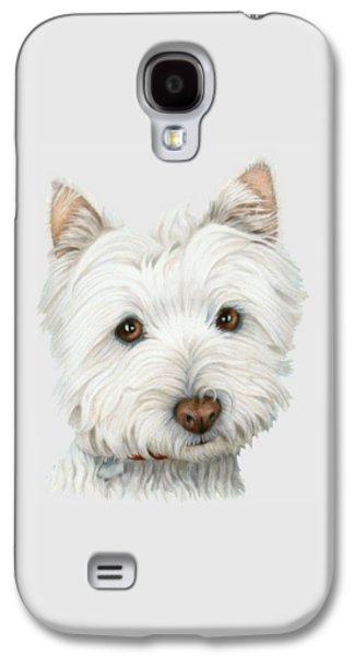 Westie Digital Galaxy S4 Cases - Cute Westie Dog Art Galaxy S4 Case by Ckeen Art