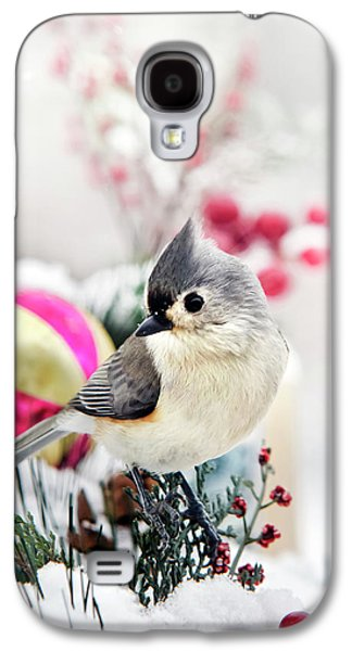 Cute Winter Bird - Tufted Titmouse Galaxy S4 Case by Christina Rollo