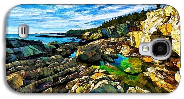 Coastal Maine Galaxy S4 Cases - Cutler Coast at Fairy Head - Painterly Galaxy S4 Case by Bill Caldwell -        ABeautifulSky Photography