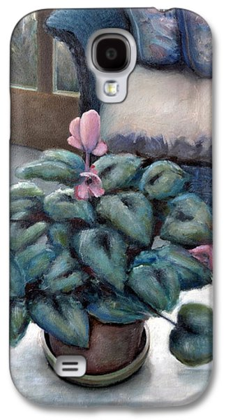 Interior Still Life Paintings Galaxy S4 Cases - Cyclamen and Wicker Galaxy S4 Case by Michelle Calkins