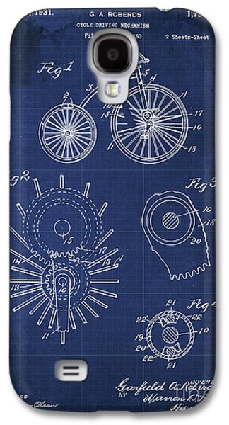 Cycle Driving Mechanism Patent Blueprint Year 1930 Blue Background Galaxy S4 Case by Pablo Franchi