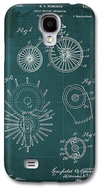 Cycle Driving Mechanism Patent Blueprint Year 1930 Green Background Galaxy S4 Case by Pablo Franchi
