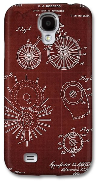 Cycle Driving Mechanism Patent Blueprint Year 1930, Red Background Galaxy S4 Case by Pablo Franchi