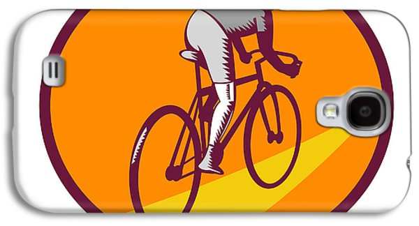 Linoleum Print Galaxy S4 Cases - Cyclist Riding Bicycle Cycling Oval Woodcut Galaxy S4 Case by Aloysius Patrimonio