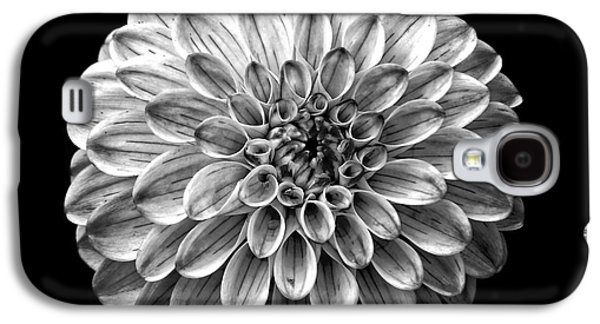 Dahlia  Flower Black And White Square Galaxy S4 Case by Edward Fielding
