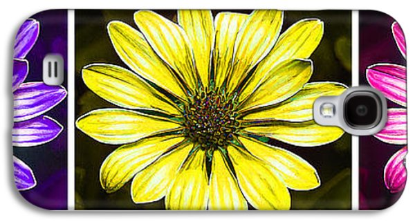 Photo Manipulation Galaxy S4 Cases - Daisy Triptych Galaxy S4 Case by Bill Caldwell -        ABeautifulSky Photography