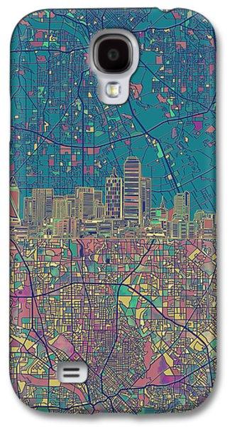 Dallas Skyline Map Green Galaxy S4 Case by Bekim Art