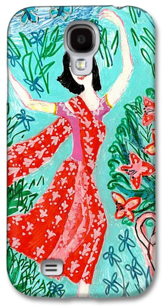 Floral Ceramics Galaxy S4 Cases - Dancer in red sari Galaxy S4 Case by Sushila Burgess