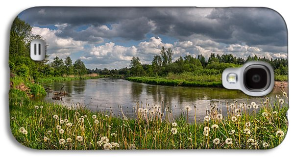 Landscapes Photographs Galaxy S4 Cases - Dandelion field on the river bank Galaxy S4 Case by Dmytro Korol