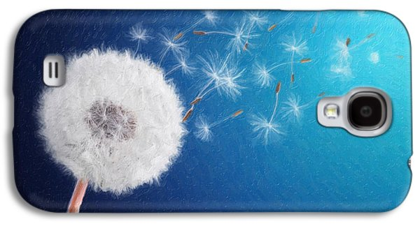 Abstract Nature Galaxy S4 Cases - Dandelion seed in background blue Galaxy S4 Case by Bess Hamiti