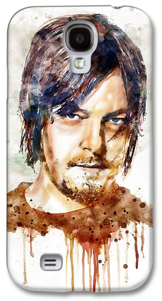 """""""square """" Mixed Media Galaxy S4 Cases - Daryl Dixon watercolor portrait Galaxy S4 Case by Marian Voicu"""