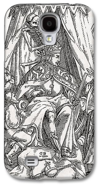 Switzerland Drawings Galaxy S4 Cases - Death Comes For The Emperor Woodcut By Galaxy S4 Case by Ken Welsh