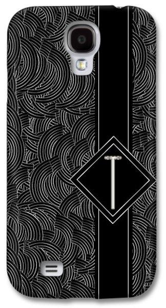 Black Top Digital Art Galaxy S4 Cases - Deco Jazz Swing Monogram ...letter T Galaxy S4 Case by Cecely Bloom