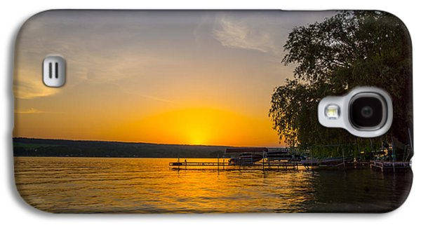 Keuka Galaxy S4 Cases - Deep orange sunset over Keuka Lake Galaxy S4 Case by Photographic Arts And Design Studio