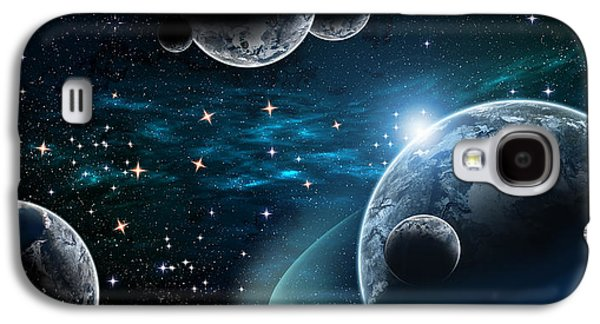 Constellations Drawings Galaxy S4 Cases - Deep Space Planet Galaxy S4 Case by Mudhaffr Ahmed