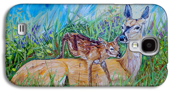 Deer Mom And Babe 24x18x1 Oil On Gallery Canvas Galaxy S4 Case by Manuel Lopez